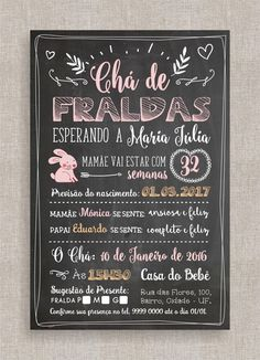 Pin by Lê Andrade on Luiza . This Pin was discovered by Lê Andrade.) your own Pins on modelos de convite para chá de bebê Baby Tea, Graphic Design Quotes, Unisex Baby Shower, Baby Posters, Doodle Lettering, Chalkboard Art, Baby Shark, Baby Party, Having A Baby