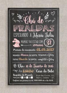 Convite Digital Chá de Fraldas 43 - Chalkboard, Quadro Negro