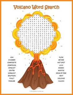 Volcanoes - Volcano Word SearchKids can review and reinforce science vocabulary while having fun with our word search puzzles.  This one is all about volcanoes.  The 20 volcano vocabulary words might be hidden in any direction including backwards and diagonally, which means it is a challenging puzzle.