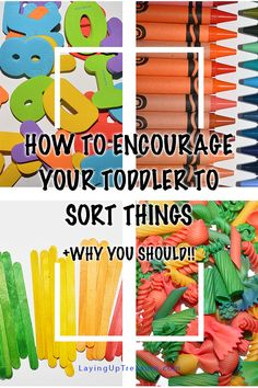 Sorting things is a fun, normal thing for toddlers to do! It helps them learn and entertains for hours. Here are ways to encourage sorting! Early Learning Activities, Sorting Activities, Craft Activities For Kids, Infant Activities, Creative Activities, Kids Crafts, Toddler Teacher, Toddler Play, Toddler Preschool