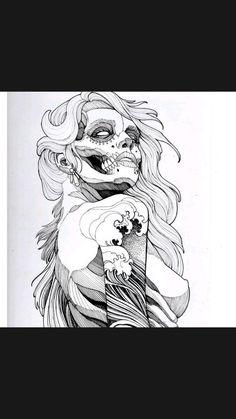 Dark Art Tattoo, Tattoo Flash Art, Body Art Tattoos, Skull Tattoo Design, Tattoo Sleeve Designs, Tattoo Designs Men, Skeleton Drawings, Dark Art Drawings, Sugar Skull Drawings