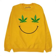 Weed Leaf Smiley Face Sweatshirt ∘ 70s ∘ Retro ∘ 90s ∘ Pot Marijauna Cannabis Sweater ∘ Jumper by REDRESSEDco on Etsy https://www.etsy.com/listing/286877423/weed-leaf-smiley-face-sweatshirt-70s