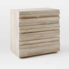 Stria 3-Drawer Dresser, Cerused White | west elm
