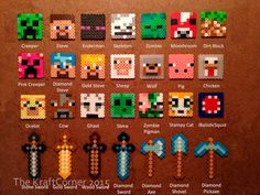 Minecraft Inspired Perler Magnets, Keychains, Coasters, Charms, Party Favors, Sprites  | Minecraft Steve, Creeper, Enderman, Pig, Wolf, Cow by TheKraftCorner on Etsy https://www.etsy.com/listing/449223752/minecraft-inspired-perler-magnets