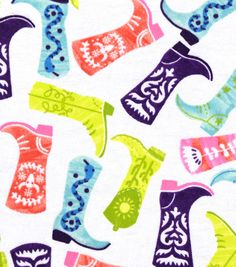 Snuggle Flannel Fabric 42''-Patterned Cowboy Boots