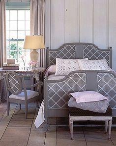 Elegant gray and white bedroom. #decor