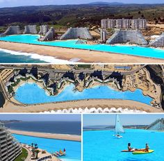 Worlds largest swimming pool, a half mile long! Located in Chile. People actually use sailboats in this! So cool! Not sure why they  would make a fake beach right at a real beach. But it totally is for me since I'm scared of sharks, jelly fish or any other unknown sea creature that has been found yet
