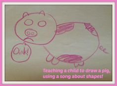 How to Draw a Pig- using a song about shapes and letters for your child Farm Animal Crafts, Farm Crafts, Farm Animals, Pa Day, Rainy Day Crafts, Kids Songs, Book Activities, Your Child, School Stuff