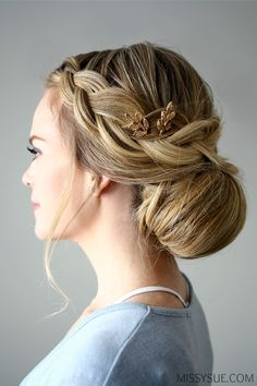 in LOVE with this Braid Embellished Smooth Bun from MissySue! ~ we ❤ this! moncheribridals.com
