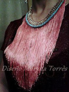 Collar-gargantilla. Flecos y cordón de algodón de seda Turquoise Necklace, Necklaces, Jewelry, Fashion, Choker Necklaces, Bangs, Chokers, Silk, Moda