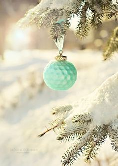 Happy holidays with this mint green Christmas Golf Ball Ornament displayed on a beautiful snowy backdrop and my favorite kind of Christmas Tree! Merry Christmas, Little Christmas, Christmas Balls, Winter Christmas, All Things Christmas, Vintage Christmas, Christmas Crafts, Christmas Decorations, Color Schemes