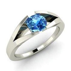 Blue Topaz December Birthstone Solitaire Valentine Ring in White Gold Sapphire Solitaire Ring, Emerald Ring Gold, Solitaire Engagement, Emerald Jewelry, Diamond Gemstone, Gold Jewelry, Tanzanite Ring, Citrine Ring, Tourmaline Ring