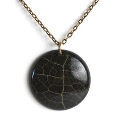 round skeleton leaf pendant / resin jewelry / necklace