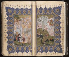 The Real Story of Representational Art in Islam - TeachMideast Illuminated Letters, Illuminated Manuscript, Iranian Art, Medieval Manuscript, Painted Books, Historical Maps, Sculpture, Religious Art, Islamic Art