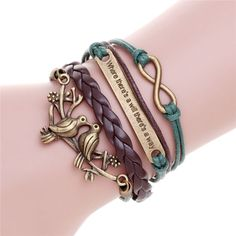 Handmade Wristband Braided Wax Cords Love Anchor Owl Hungry Games Leather Charms bracelets & Bangles men Jewelry