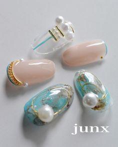 いいね!1,086件、コメント10件 ― junko sato 佐藤淳子 #JUNXさん(@nail_space_junx)のInstagramアカウント: 「新作Design✨ターコイズ #ターコイズが好きすぎて #ターコイズネイル #nail #nails #nailart #naildesign #gelnails #gel#リーフジェル…」