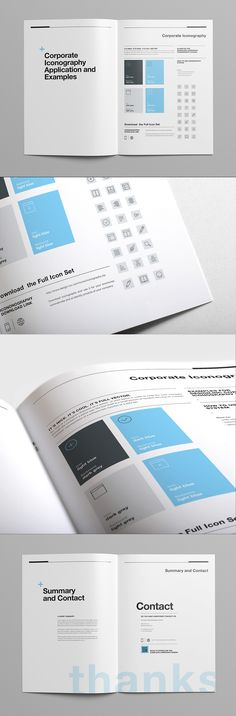 Brand Manual and Identity Template – Corporate Design Brochure – with 40 Pages and Real Text!Minimal and Professional Brand Manual and Identity Brochure template for creative businesses, created in Adobe InDesign in International DIN and US Letter… Corporate Brochure Design, Brochure Layout, Graphic Design Branding, Brochure Trifold, Brochures, Design Corporativo, Book Design, Layout Design, Design Guidelines