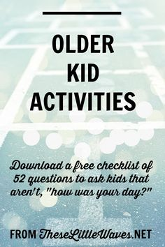 Older kid activities are so important to purposefully engage in. Our older kids are getting more independent and are spending more time alone and with peers. It's our job to engage with them and stay close with them BECAUSE of this fact. There are so many amazing ways to connect with kids as they get older. Actively reading, playing, and interacting with them is key! This post digs deep into the kinds of conversations we want to have with our older kids to keep the lines of communication…