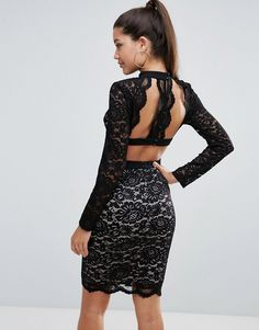 Love Triangle Allover Lace Pencil Dress With Scallop Back Detail - Bla