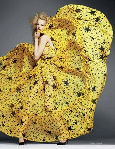 from Vogue Russia's September issue. model - Hailey Clauson photographer - Terry Tsiolis #yellow #stars #dress