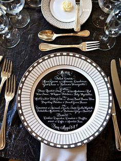 Extending your theme to include every detail--down to the menu. What do YOU think of the idea of a round menu to fit on the plates? Wedding Menu, Wedding Reception, Our Wedding, Rustic Wedding, Wedding Ideas, Wedding Foods, Gatsby Wedding, Wedding Tables, Wedding Vintage