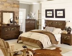 COOL! KIDS TWIN size camo bedroom group includes headboard, chest, dresser, and mirror great look!