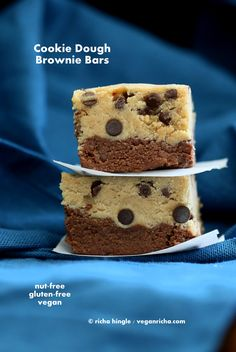 Vegan Cookie Dough Brownies. Gluten-free No Bake High Protein