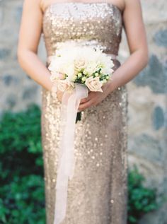 White and blush rose bridesmaids bouquet. Gold sequins. Photo by Ace & Whim ,Meggan and Slade's Glam Silverleaf Club Wedding