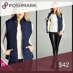 💖PLUS-Quilted Vest💖 Faux Shearling Lined Quilted Vest. 100% Polyester. Black or Navy. Jackets & Coats Vests
