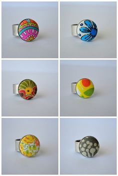 Fabric covered button rings.