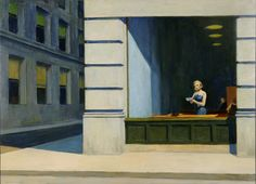 """""""New York Office,"""" Edward Hopper, 1962, oil on canvas, 40 x 55"""", Montgomery Museum of Fine Arts."""