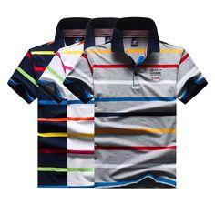 26cd0d58 Tace Shark Striped Mens Shirts Strip Short Sleeve Designer Cotton Male  Brand Polo Shirt
