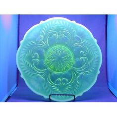 """8.5"""" Vaseline Opalescent Glass Inverted Thistle Pattern Cake Cup Cake Plate Stand"""