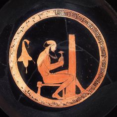Drinking cup (kylix) with satyr fluting a column. Greek, Early Classical Period, about 475 B.C.Interior: A fantasy workshop: a balding satyr sits on a small bench. A wineskin hangs on wall behind him, hinting at the satyr's boozy nature. He is using a sharp, pick-like tool to flute a column. His easy technique would surely be ineffiecient in an actual building situation, but fits in well with the magical world of the satyr.