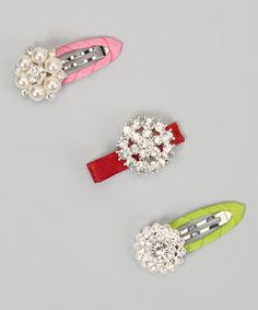 Take a look at this Green, Red & Pink Rhinestone Snap Clip Set by Charlotte Rose Couture on #zulily today!