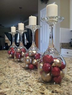 DIY ideas for Christmas Decorations;Table Decorations; Christmas Decor DIY food on a budget Ideas of Inverted Goblet Candles for Holiday Decoration Christmas Candle Decorations, Christmas Candles, Holiday Decor, Holiday Ideas, Red Table Decorations, Wedding Decorations, Seasonal Decor, Wedding Centerpieces, Simple Christmas