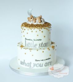 Gold Stars Sprinkles on White Cake