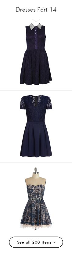 """Dresses Part 14"" by ilovecats-886 ❤ liked on Polyvore featuring dresses, vestidos, short dresses, robes, short lace dress, sleeveless dress, lace mini dress, blue dress, navy and sale"