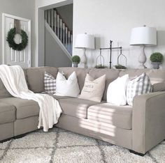Farmhouse living room from @juliecwarnock; modern farmhouse, farmhouse style, promote