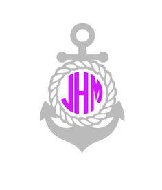 Anchor Monogram Decal Nautical Anchor Monogram Car Decal Vinyl - Anchor monogram car decal