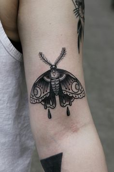 Moth tattoo by Justin Dion in Portland Oregon.  www.justindion.com  www.justindion.tumblr.com   @justindiontattoo on instagram
