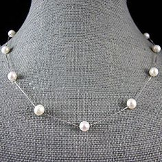 7-8MM+Natural+Freshwater+Pearl+Necklace+With+Silver+Chain+–+18+Inch+(More+Colors)+–+USD+$+47.00