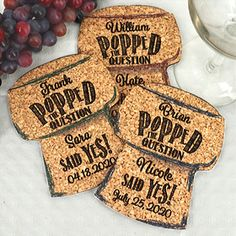 Celebrate your special event with our Personalized Cork Stopper Cork Coasters. Choose from a selection of headings and color options to perfectly coordinate with your special day! Engagement Party Favors, Personalized Coasters, Cork Stoppers, Cork Coasters, Special Day, Party Ideas, Decor, Coasters, Decoration