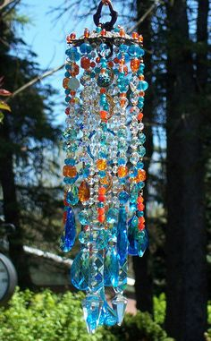 Let's Tango Antique Crystal Wind Chime by sheriscrystals on Etsy Crystal Wind Chimes, Diy Wind Chimes, Glass Wind Chimes, Wind Spinners, Mobiles, Hanging Crystals, Hanging Beads, Beaded Curtains, Bohemian Curtains