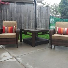 Check out this project on RYOBI Nation - I wanted a table for my 2 chairs and patio umbrella without taking up more room than necessary. I came up with the idea of making a table to fit over the post of the umbrella and with the base of the umbrella stand underneath the table. This way both chairs would fit next to the table and provide a large space for decorative pieces, flowers, cups and magazines with the umbrella shading all.
