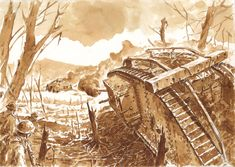The Second Battle of Villers-Bretonneux and the first tank-on-tank battle. MK IV [Male] vs A7V.  Diluted ink + dip pen  My own drawing. All rights reserved #tank #WWI #greatwar #a7v #mark #marktank #Villers-Bretonneux #battle