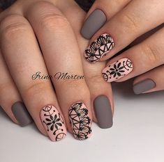 acrylic square nails design and color ideas for short nails- white blac Elegant Nail Designs, Best Nail Art Designs, Elegant Nails, Stylish Nails, Henna Nails, Lace Nails, Henna Nail Art, Nail Art Abstrait, Pretty Nails