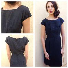 Vintage // 1960s 60s // Black Silk Dress LBD by FamiliarThreads