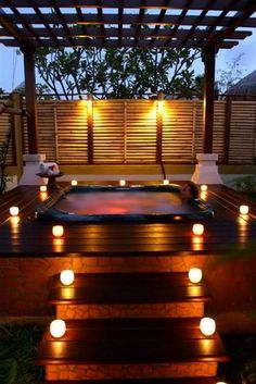 Imagine dipping yourself in these jacuzzi. These outdoor jacuzzi will revitalize your body after a long tiring day. design interior day spas Outdoor Jacuzzi Ideas: Designs, Pros, and Cons [A Complete Guide] Hot Tub Privacy, Hot Tub Deck, Hot Tub Backyard, Backyard Pools, Pool Decks, Pool Landscaping, Outdoor Spaces, Outdoor Living, Outdoor Decor