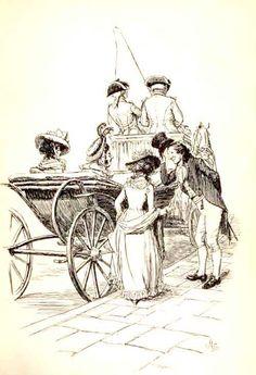 """Introduced to Mrs. Jennings"" Hugh Thomson illustration for an 1896 edition of Jane Austen's Sense and Sensibility People Illustration, Ink Illustrations, Versailles, Jane Austen Novels, Scrapbook Blog, Vintage Artwork, Vintage Prints, Regency Era, Classic Literature"